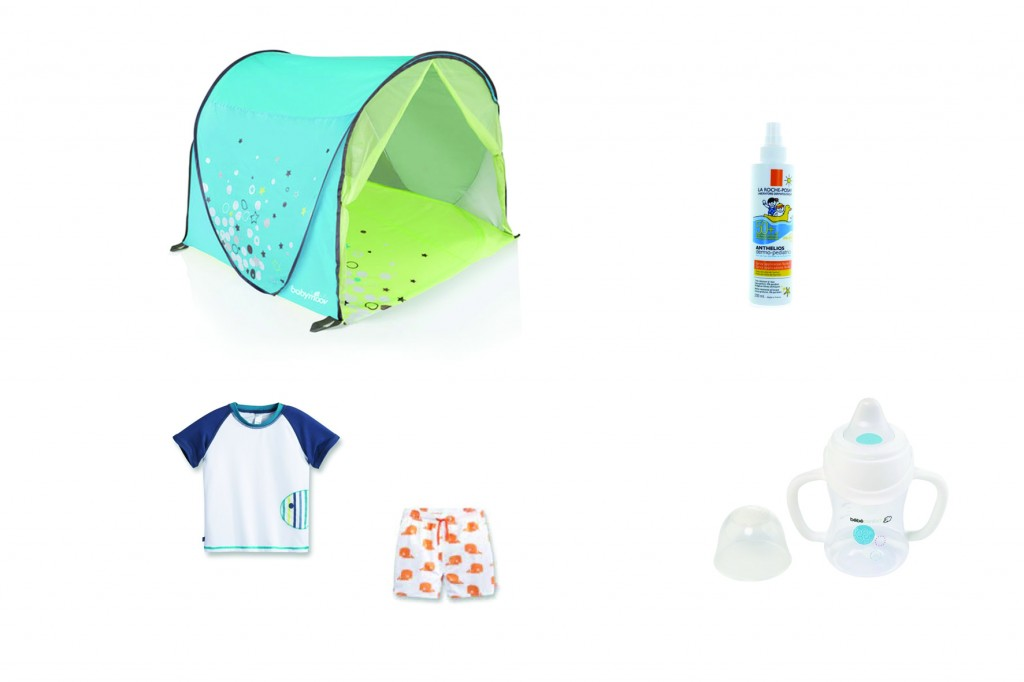 Indispensables pour la plage crème solaire tente Babymoov