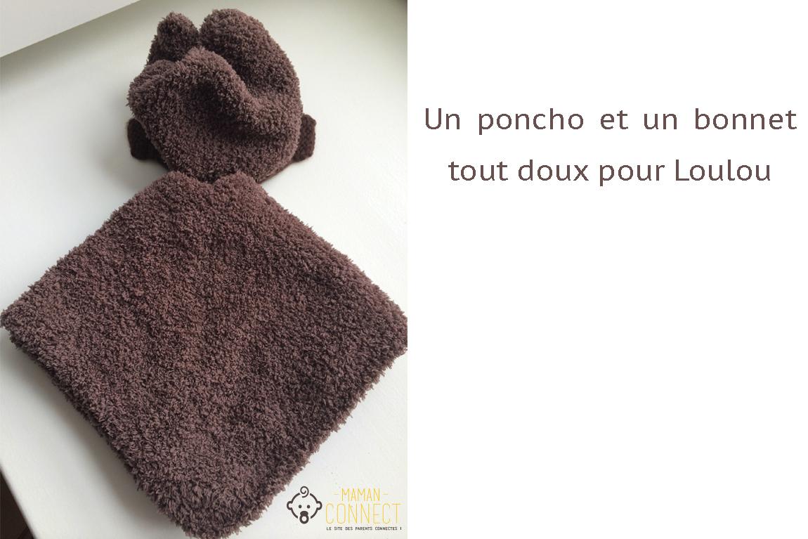 Ensemble poncho et bonnet tricot