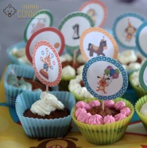 Cupcake anniversaire cirque