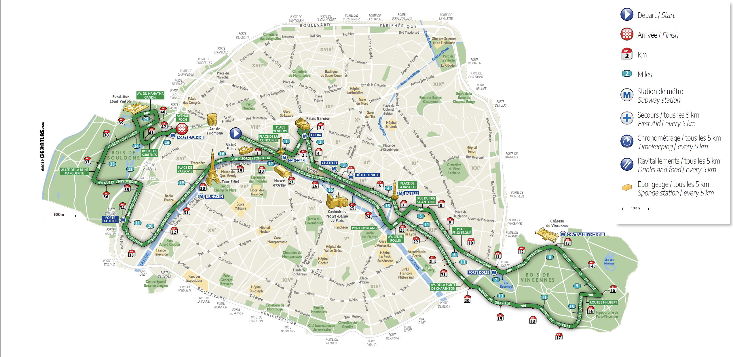 Circuit Marathon Paris 2019